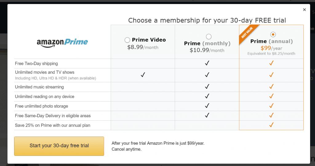 amazon prime fee table